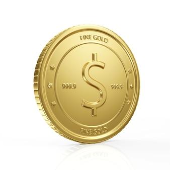 Złota moneta na białym tle