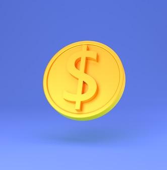 Złota moneta ze znakiem dolara minimalna ilustracja kreskówka renderowania 3d