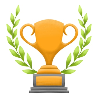 Złota nagroda lub trofeum z wieńcem z zielonych liści. pojedynczo na białym tle.