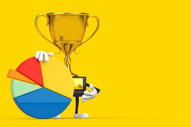 Złota nagroda zwycięzca trofeum charakter maskotka z wykresem kołowym firmy grafika informacji na żółtym tle. renderowanie 3d