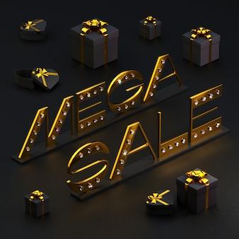 Złota napis wyprzedaż mega z brylantami i pudełkami prezentowymi na czarno. 3d ilustracji