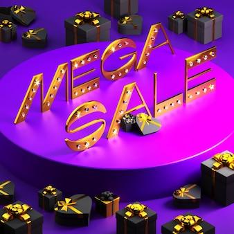 Złota napis wyprzedaż mega z diamentami i pudełkami na fioletowo. 3d ilustracji