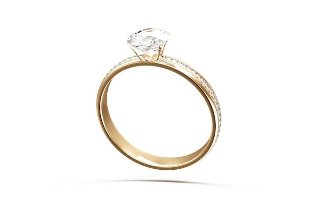 Złota obrączka ślubna z diamentami na białym tle
