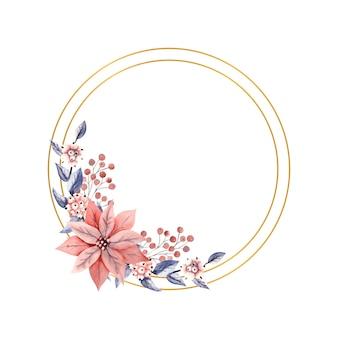 Złota okrągła ramka z akwarelowymi gałązkami snowberry i kwiatami poinsecji.