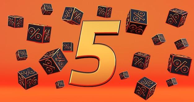 Złota piątka 5 procent liczby z procentami czarnych kostek latać na pomarańczowym tle. renderowanie 3d