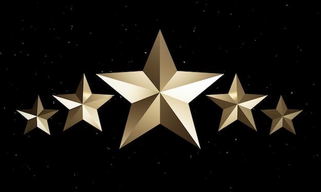 Złota pięciogwiazdkowa na ciemnym tle dla doskonałej oceny klientów przez renderowanie 3d.