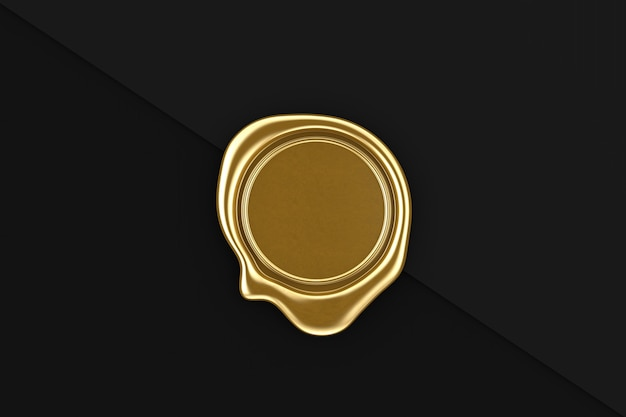 Złota pieczęć woskowa z pustego miejsca na swój projekt na czarnym tle papieru. renderowanie 3d