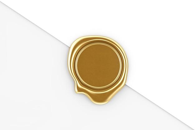 Złota pieczęć woskowa z pustego miejsca na swój projekt na tle białej księgi. renderowanie 3d