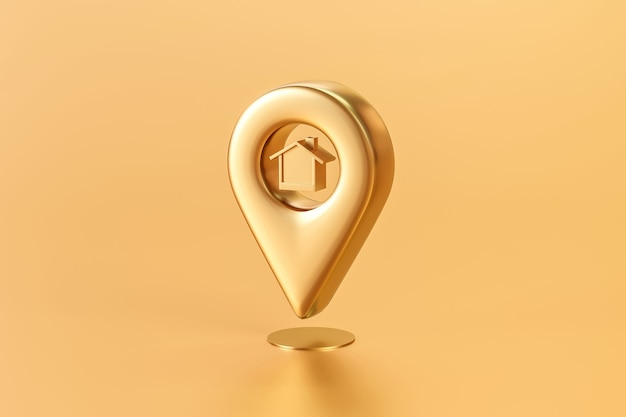 Złota pinezka lokalizacji domu lub domu na złotym tle mapy z nieruchomościami. renderowanie 3d.