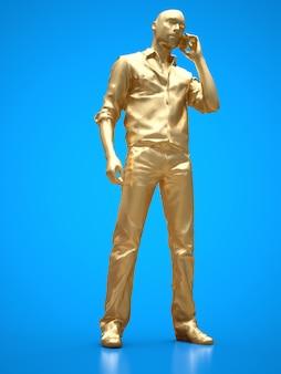 Złota postać murzyna rozmawiającego przez telefon