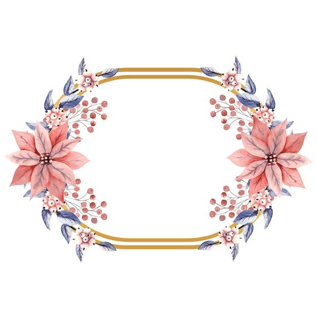 Złota pozioma owalna rama z akwarela gałązki jagód śnieżnych i kwiaty poinsecji