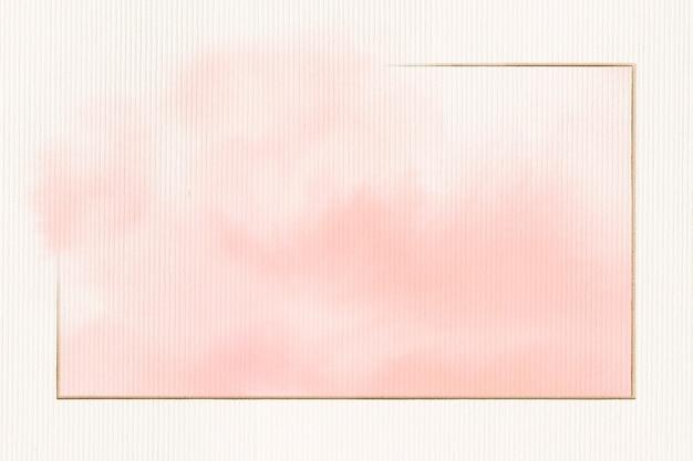 Złota prostokątna ramka na różowej akwareli