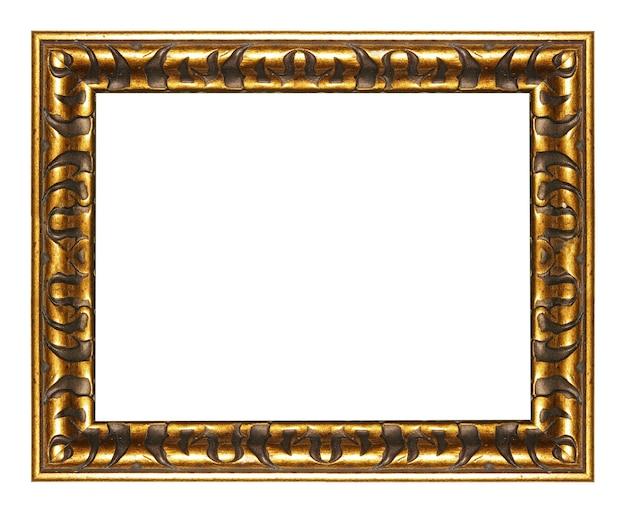 Złota pusta rama z dekoracją egipskich elementów. na białym tle