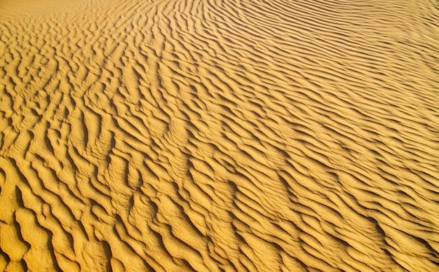 Złota pustynia w zachód słońca. tekstury piasku.