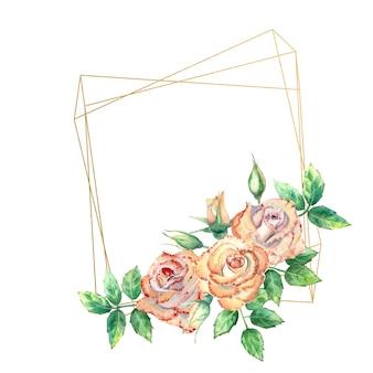 Złota rama geometryczna ozdobiona kwiatami. brzoskwiniowe róże, zielone liście, otwarte i zamknięte kwiaty. akwarela ilustracja.