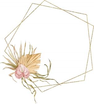 Złota rama ozdobiona akwarelowymi tropikalnymi liśćmi i kwiatem anturium. egzotyczny szablon.