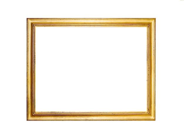 Złota ramka na białym tle