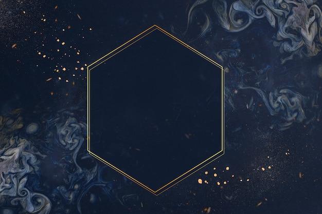 Złota ramka na niebieskim tle