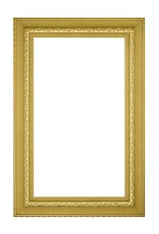 Złota ramka na zdjęcia archiwalne na białym tle