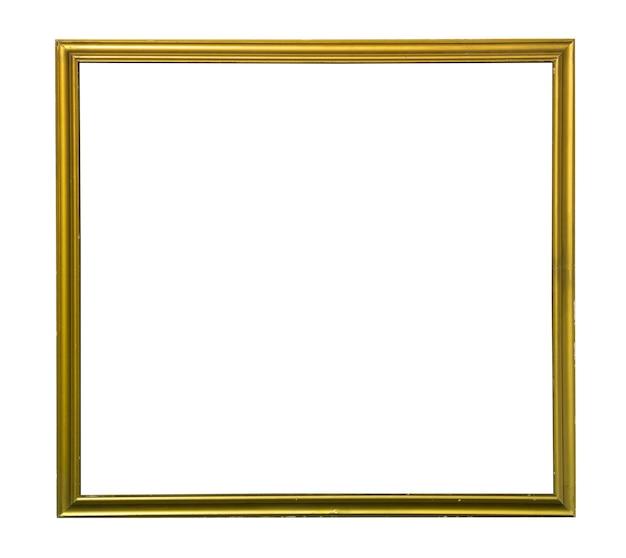 Złota ramka na zdjęcia vintage na białym tle