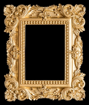 Złota ramka na zdjęcia w stylu barokowym vintage obiekt czarne tło