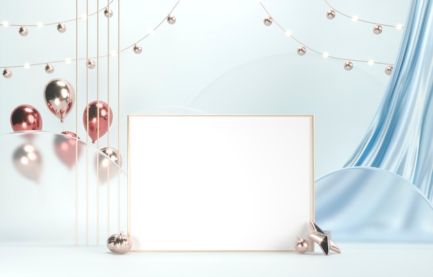 Złota ramka na zdjęcie z białą przestrzenią, jedwabną draperią i świątecznymi balonami