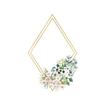 Złota ramka w kształcie rombu z małymi kwiatami aktynidii, bouvardii, liści tropikalnych i palmowych