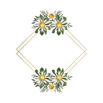 Złota ramka z akwarelą prasowanymi i suszonymi kwiatami na białym tle