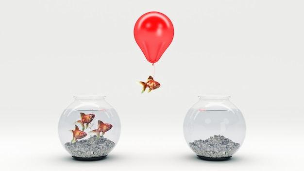 Złota ryba odlatująca z akwarium za pomocą renderowania 3d balonu