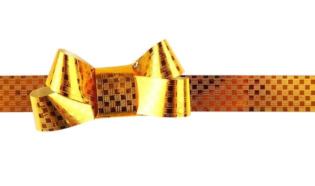 Złota serpentynowa kokardka na białym tle