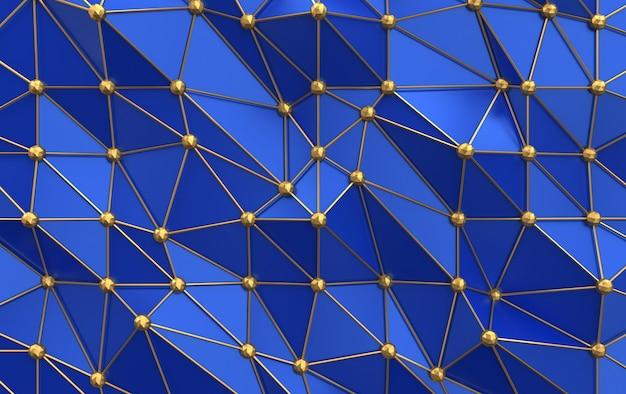 Złota siatka z niebieskimi wielokątami, renderowanie 3d