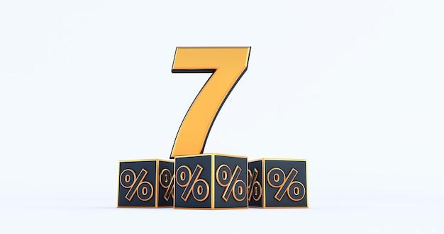 Złota siedem 7 procent liczby z procentami black kostki samodzielnie na białym tle. renderowanie 3d