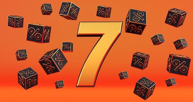 Złota siedem 7 procent liczby z procentami czarnych kostek latać na pomarańczowym tle. renderowanie 3d