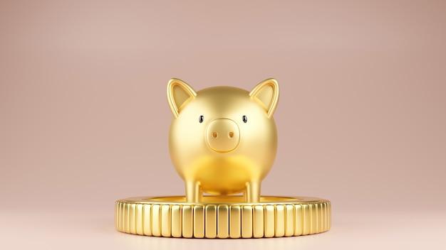 Złota świnia stojąca na złotej monecie