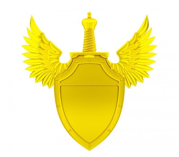 Złota tarcza ze skrzydłami i mieczem, renderowanie 3d