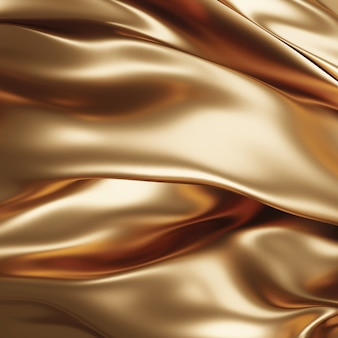 Złota tkanina w tle renderowania 3d