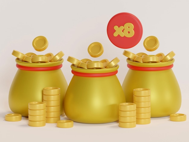 Złota torba na monety z kolorem znaku dolara i renderowaniem 3d w tle
