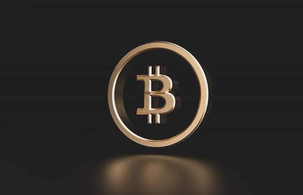 Złota waluta cyfrowa bitcoin. futurystyczna cyfrowa pieniądze 3d ikona.