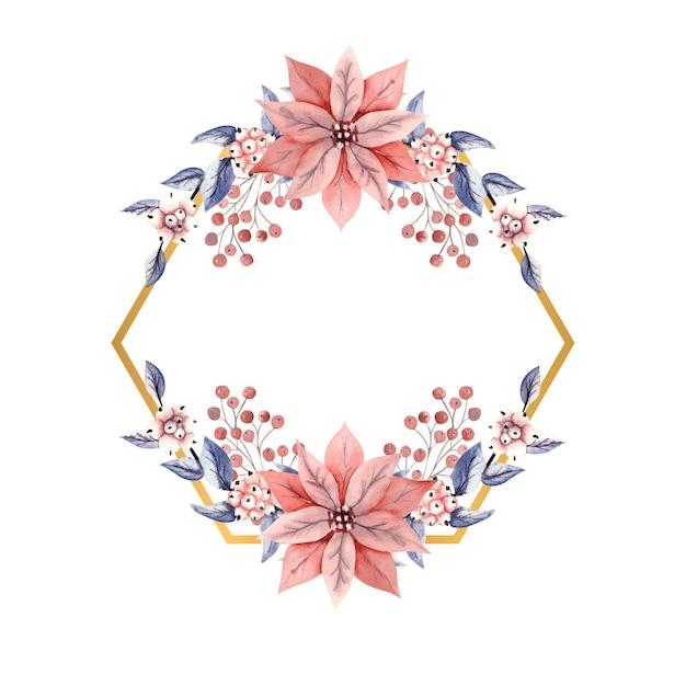 Złota wielokątna ramka z akwarelowymi gałązkami jagód śniegu i kwiatów poinsecji.