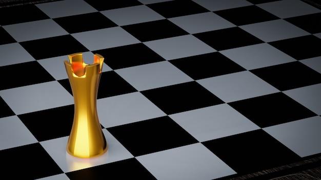 Złota wieża szachowa na szachownicy