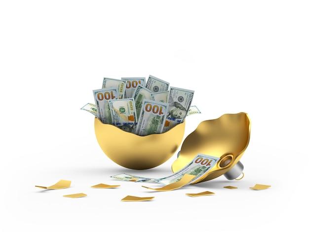 Złota złamana bombka pełna banknotów dolarowych
