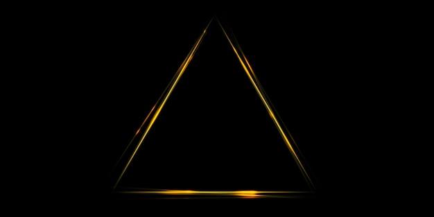 Złota żółta poświata linia prosta kontrastujący trójkąt tła obrazu 3d ilustracja