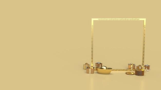 Złote 2022 i pudełka na prezenty dla chińskiej koncepcji renderowania 3d na nowy rok .