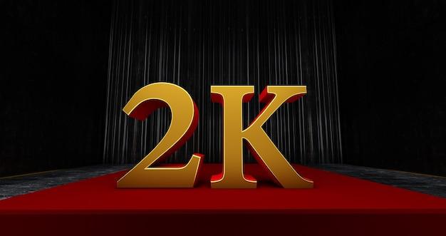Złote 2k lub 2000 dziękuję, użytkownik sieci dziękujemy za świętowanie subskrybentów lub obserwujących i polubień, renderowanie 3d