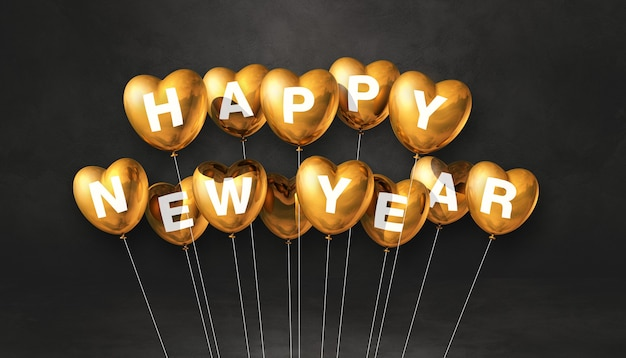 Złote balony kształt serca szczęśliwego nowego roku na czarnym tle betonu. baner poziomy. renderowanie ilustracji 3d