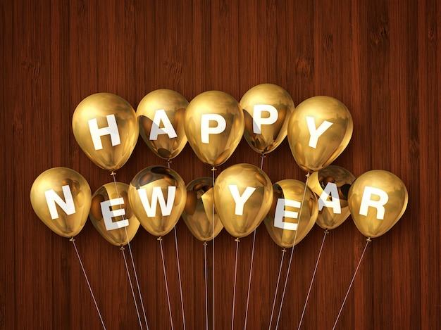 Złote balony szczęśliwego nowego roku na ciemnym drewnianym stole. renderowania 3d ilustracji