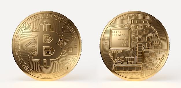 Złote bitcoin, obie strony monety kryptowalutowej samodzielnie na białym tle. ilustracja renderowania 3d.