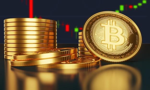 Złote bitcoiny na stosie monet z wykresem rosnącej i malejącej wartości kryptowaluty