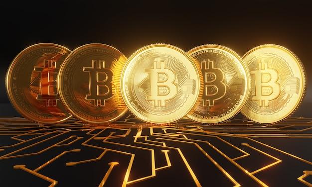 Złote bitcoiny stojące na płytce drukowanej