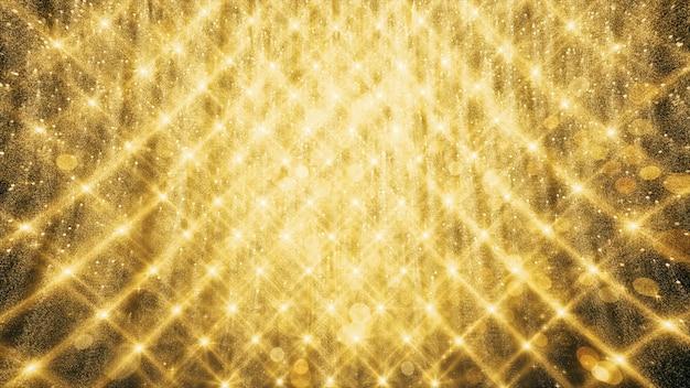 Złote brokatowe i odblaskowe światła do reklamy i tapety w wakacje i świętowanie sceny